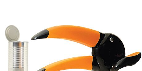 orange and black toucan shaped can opener