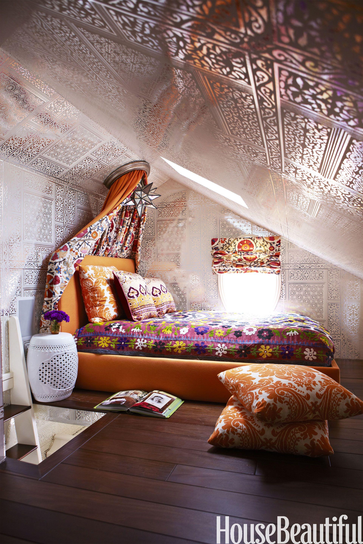 teenage girl room with groovy wallpaper