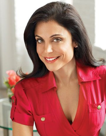 photograph of bethenny frankel in a red shirt