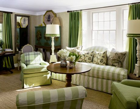 green and tan living room