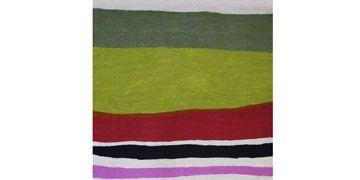 apple green striped rug runner