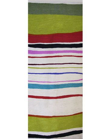 apple green striped rug runner