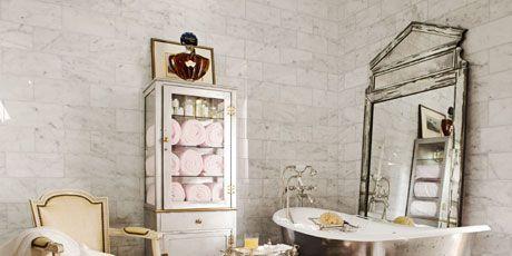 A Grand, Parisian Hotel-Inspired Guest Bathroom