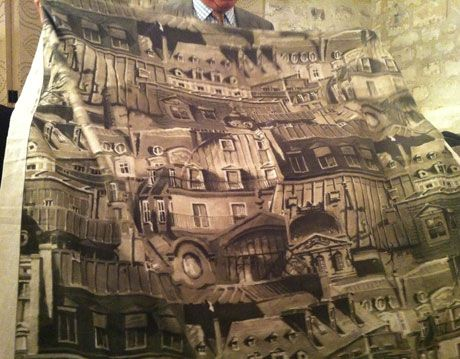 textile with print of paris on it