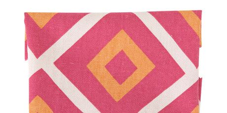 geometric fabric in pink, orange, and white