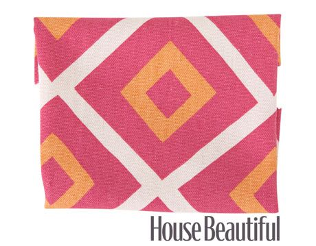 geometric fabric in pink, orange, and white
