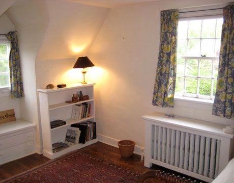bookshelf and windows