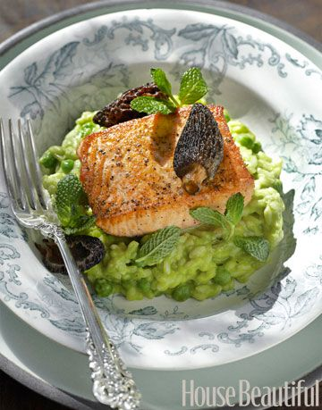 salmon and risotto on a plate