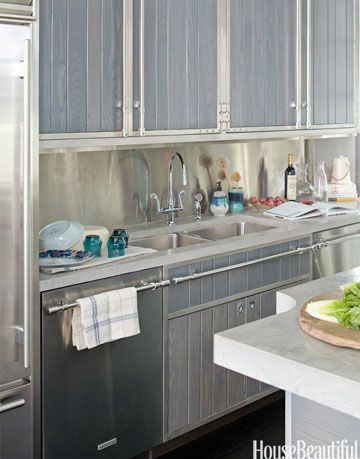 wood cabinets with metal nautical details
