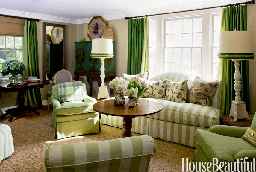 10 Best Green Living Rooms