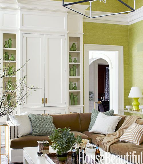 Green Wall Covering In Living Room