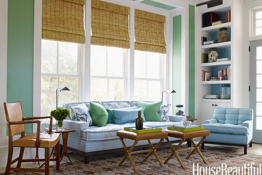 10 Gorgeous Green Living Rooms  House Beautiful
