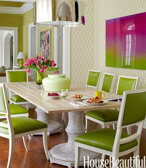 Room With Green Chairs And Green Pattern Wallpaper