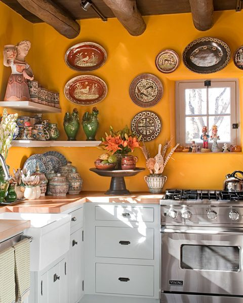 Room, Countertop, Kitchen, Property, Orange, Interior design, Furniture, Cabinetry, Yellow, Ceiling,
