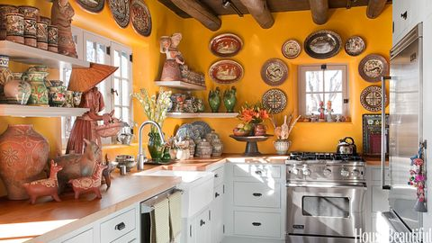 Yellow Kitchen With Santa Fe Style Southwest Decor