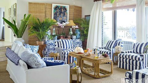living room with rattan screen