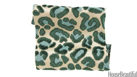 green and blue leopard fabric