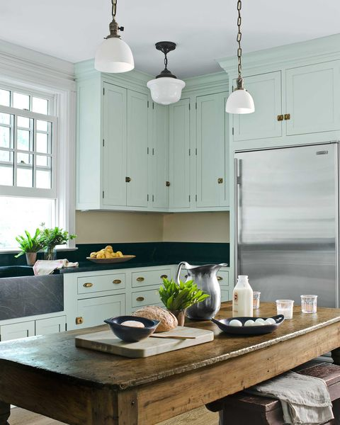 mint green kitchen with farmhouse table - Green Kitchen Cabinets