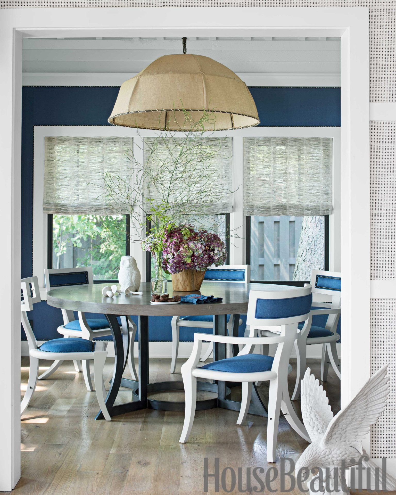 interesting navy blue and white dining room. 30 Best Dining Room Paint Colors  Modern Color Schemes for Rooms