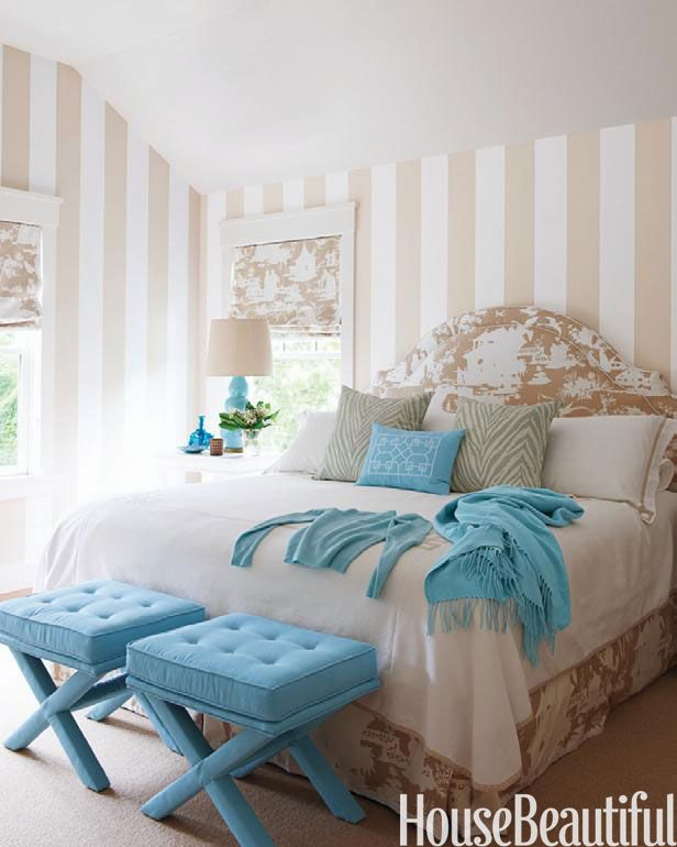 Neutral Striped Bedroom Walls