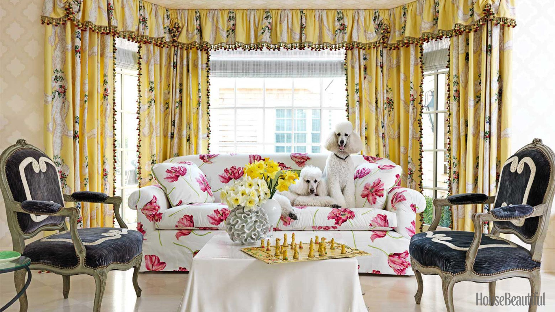 floral and lace patterned curtains