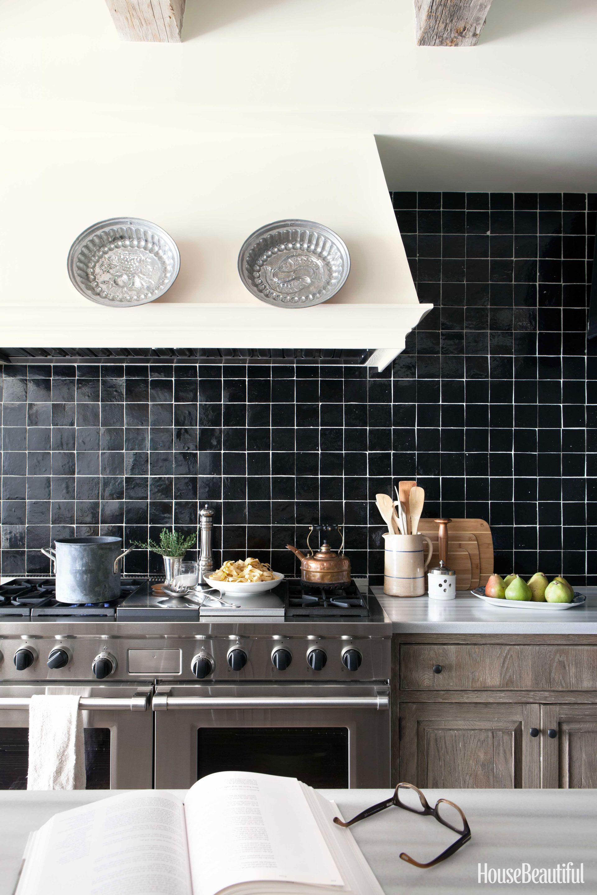 with and contemporary decor home tile black white kitchen backsplash design for