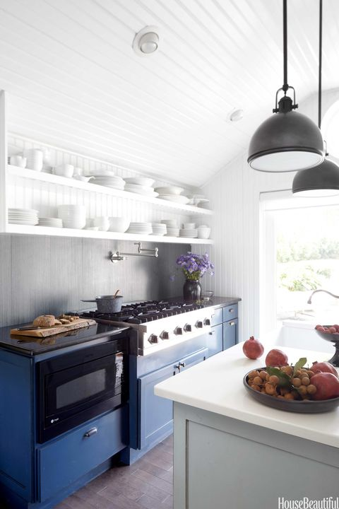 navy blue kitchen cabints