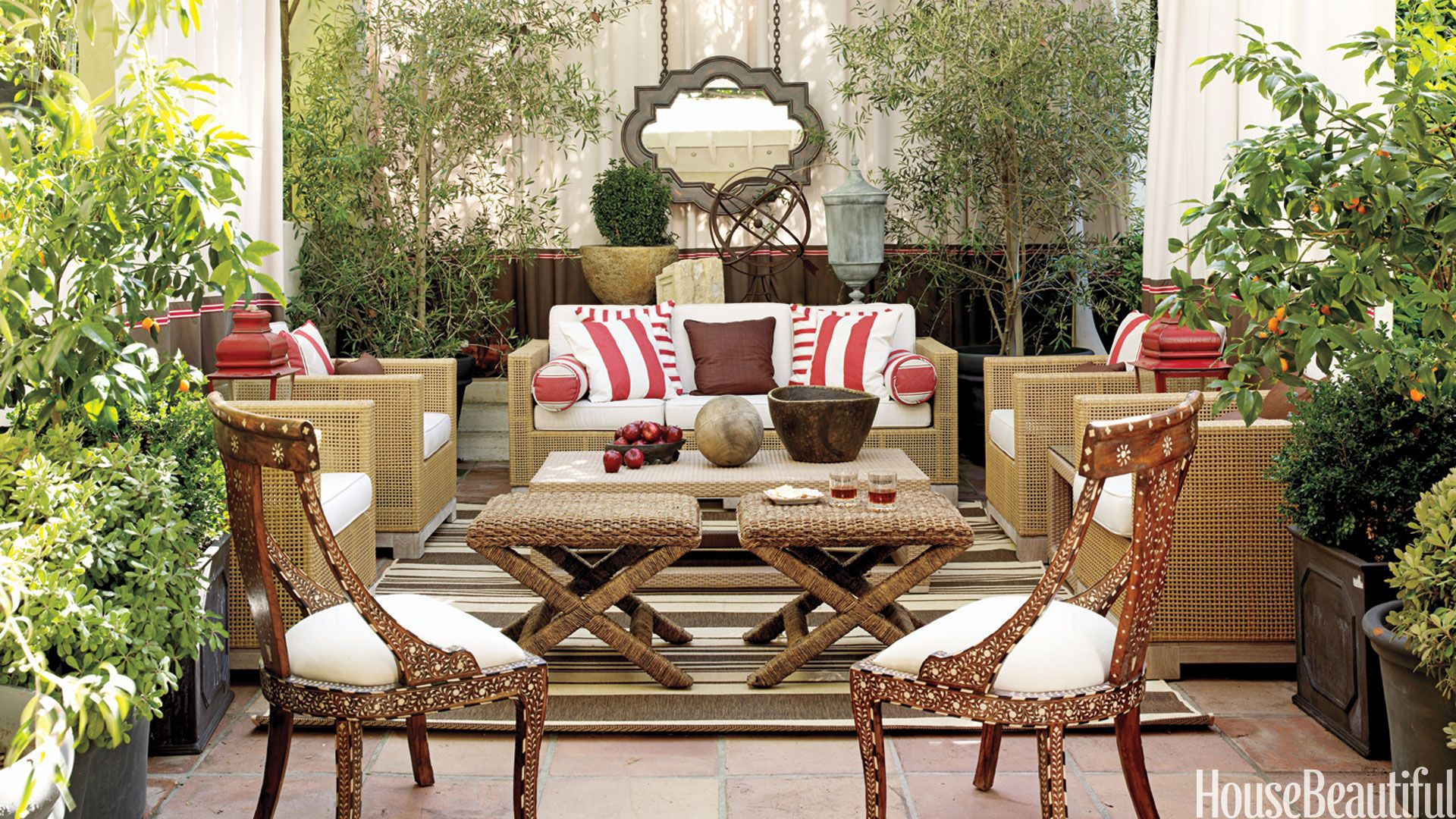 Red And White Outdoor Pillows