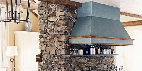 kitchen stone chimney