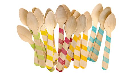 striped wooden ice cream spoons