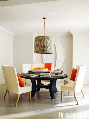 fabric pendant light in dining room