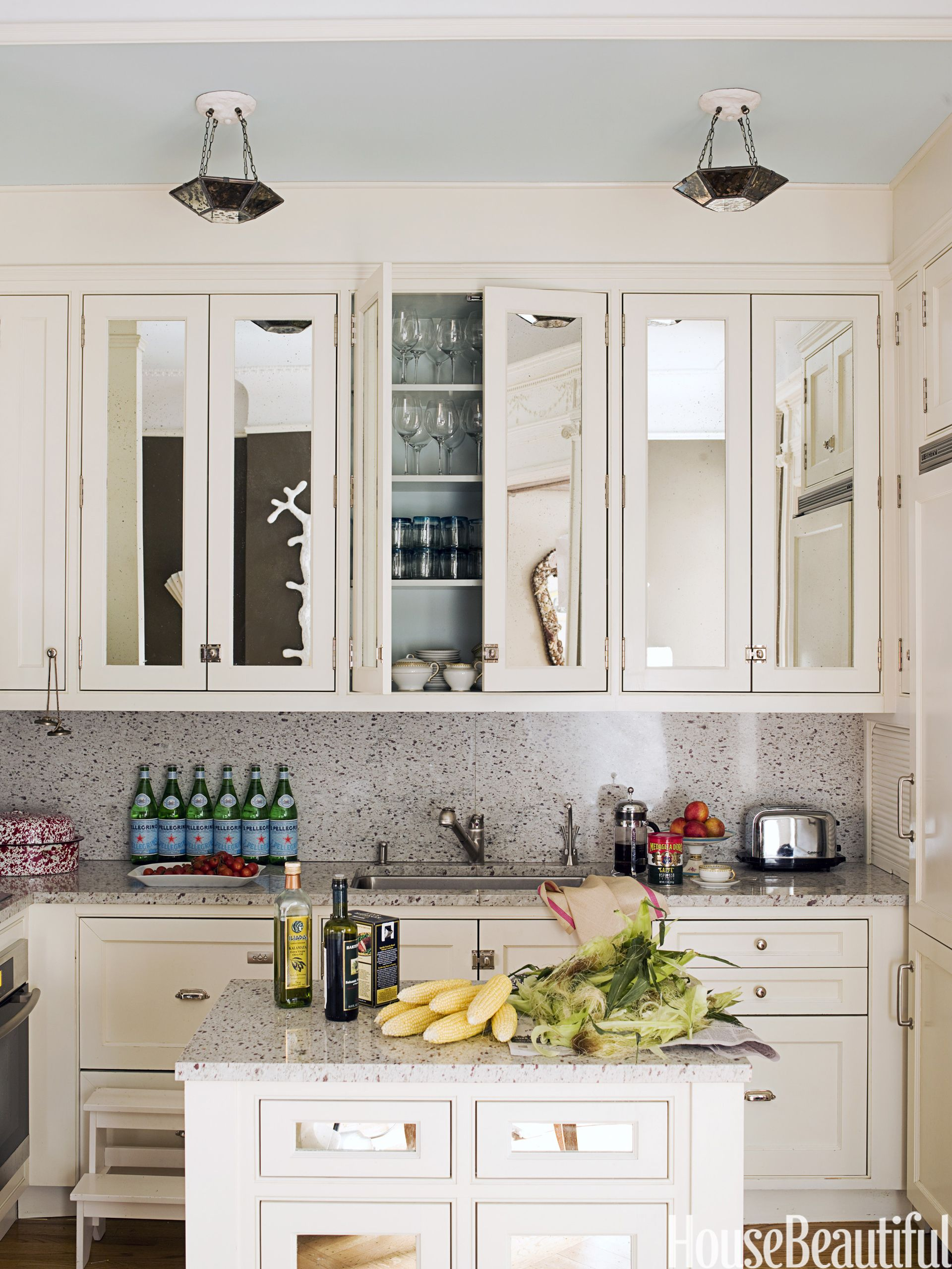 Mirrored Kitchen Cabinet Doors Mirrored Kitchen Cabinets   House Beautiful Pinterest Favorite