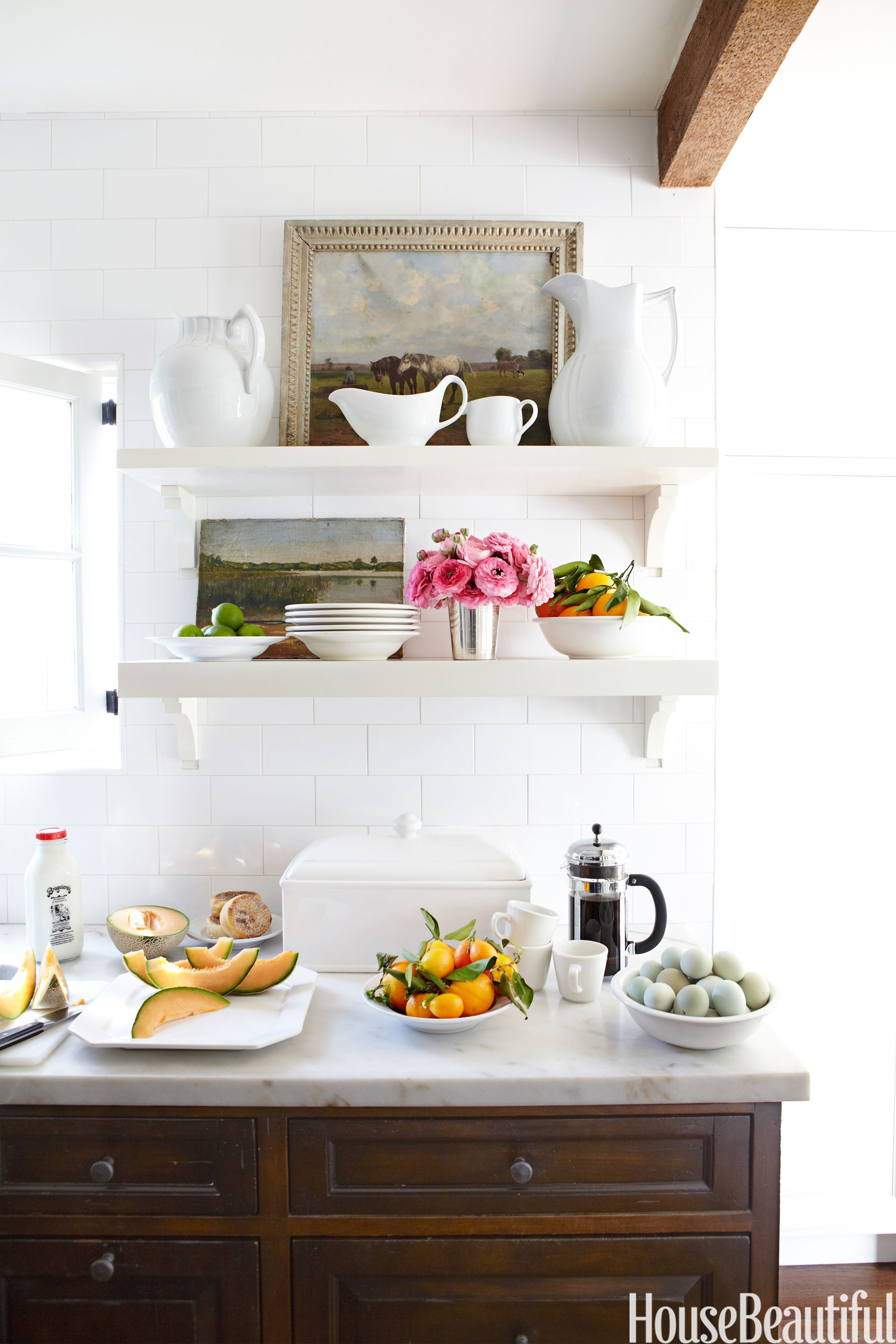 white kitchen shelves & How to Declutter a Small Room - Organizing Ideas for Small Spaces