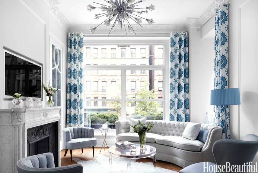 living room decorating ideas apartment furniture design A Small, Elegant Manhattan Apartment in Blue