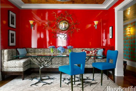 red lacquered walls
