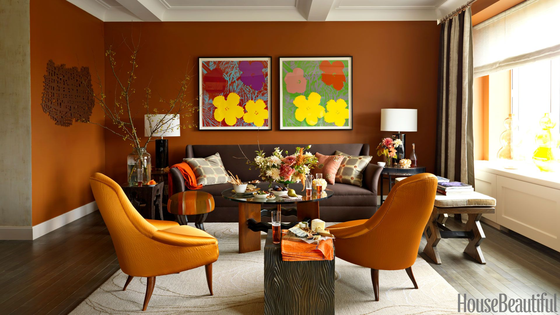 orange midcentury modern chairs