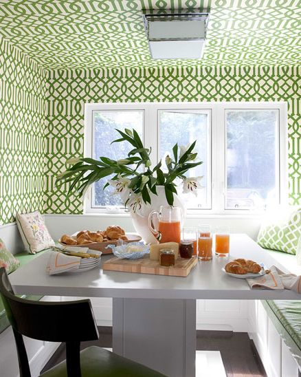 green trellis wallpaper frederic lagrange wallpapered nook - Kitchen Nook
