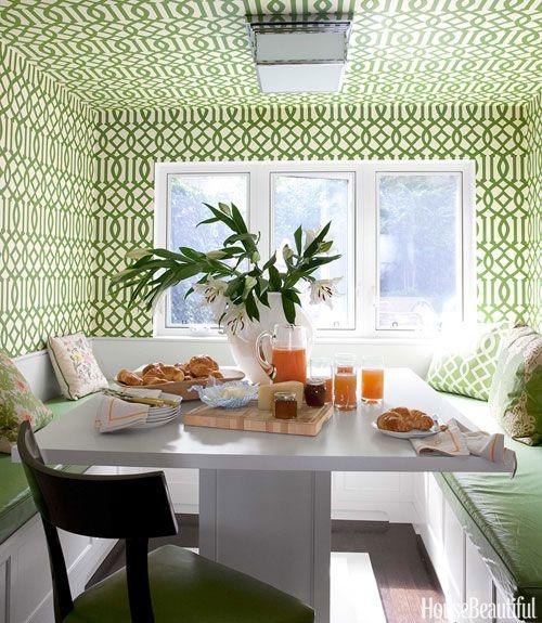 Green Trellis Wallpaper. Frederic Lagrange. Wallpapered Nook