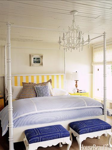 yellow striped headboard