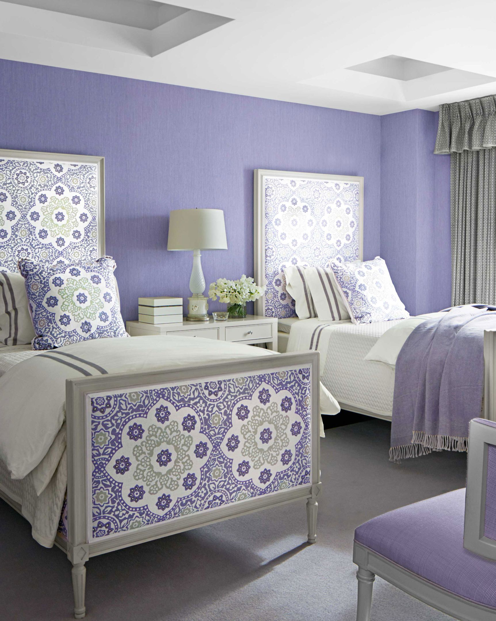 purple twin beds