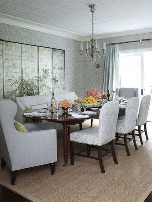 Dining Room With Mixed Seating And Silver Wallpaper