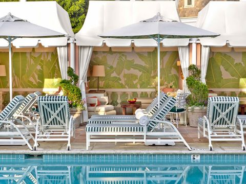 A View Of Refreshed Cabana At Beverly Hills Hotel Pool