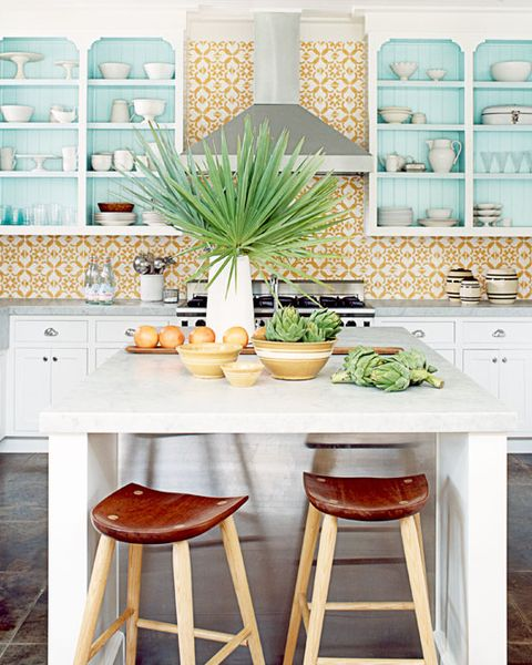 Yellow White Tiles Matthew Hranek Tropical Kitchen