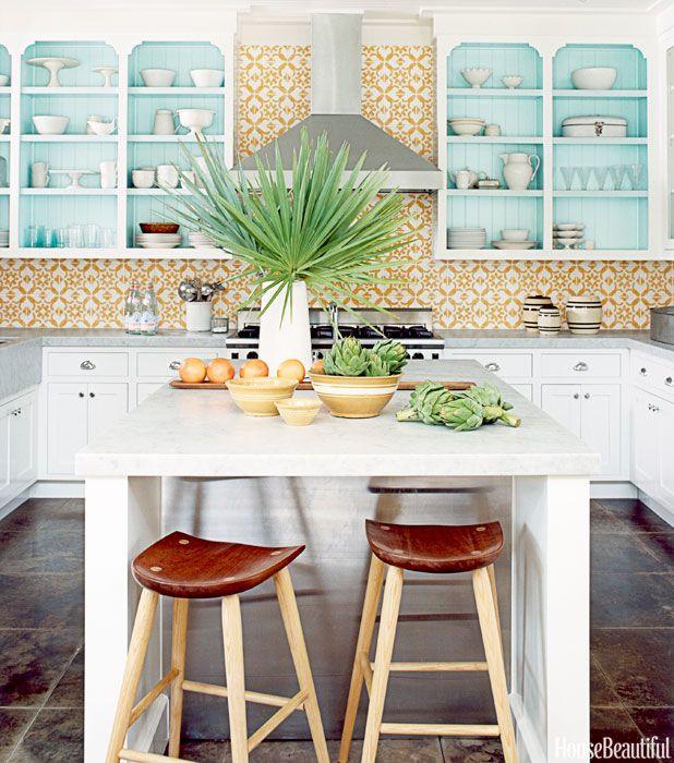Yellow White Tiles. Matthew Hranek. Tropical Kitchen