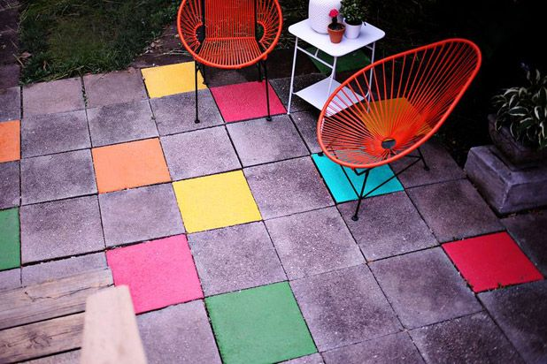 Before And After: A Colorful And Unexpected Update to An Outdoor Patio