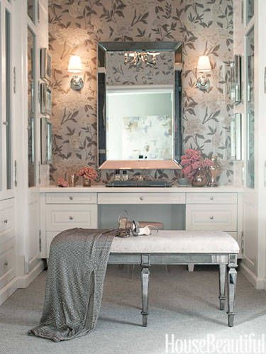 Room, Interior design, Table, Furniture, Interior design, Grey, Molding, Mirror, Light fixture, Picture frame,