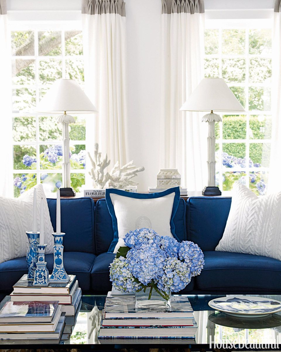 Attirant Blue And White Living Room