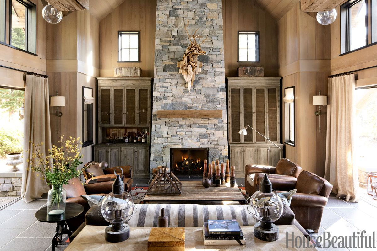 Lake house living room decor - Mountain Retreat Living Room House Beautiful Pinterest Favorite Pins April 21 2014