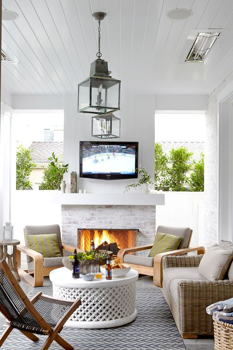 25 Outdoor Fireplace Ideas, Outdoor Patio With Fireplace And Tv