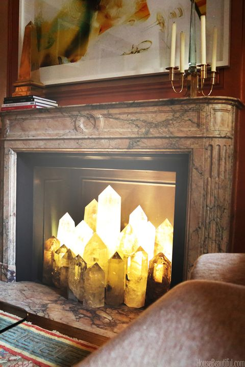 Cullman Kravis Filled A Fireplace With Crystal Obelisks